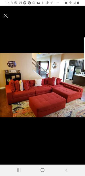 Red sectional couch and area rug. for Sale in Smoke Rise, GA