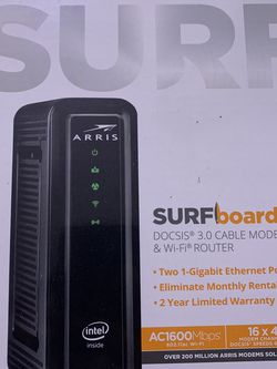 ARRIS SURFboard SBG10 DOCSIS 3.0 Cable Modem & AC1600 Dual Band Wi-Fi Router, Approved for Cox, Spectrum, Xfinity & others (black) for Sale in Concord,  CA