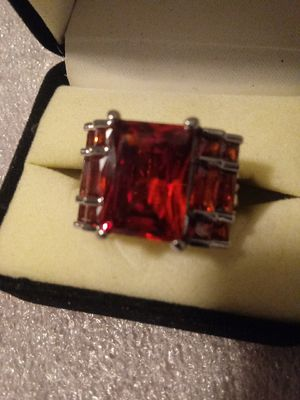 #jewelry Ruby Red CZ Cut to perfection..Dramatic statement ring Sz 10 and 8and 3/4 for Sale in Evans, CO