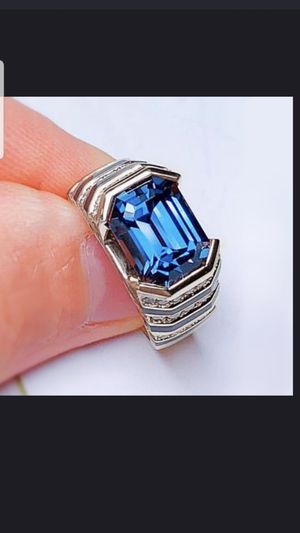 Sterling silver blue and white sapphire ring size 8 for Sale in Dundalk, MD