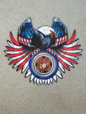 USMC marines logo on eagle us flag colored heavy steel metal sign for Sale for sale  Vancouver, WA
