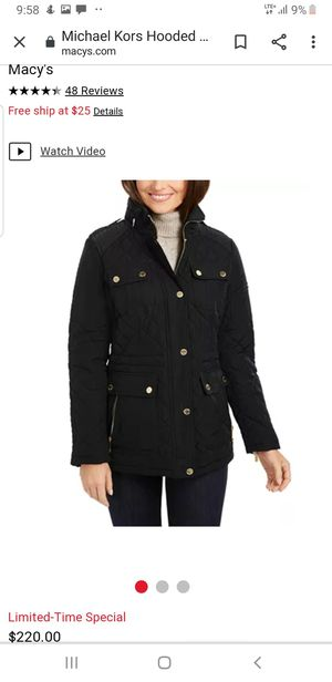 Michael Kors quilted jacket with hideable hood for Sale in Pomona, CA