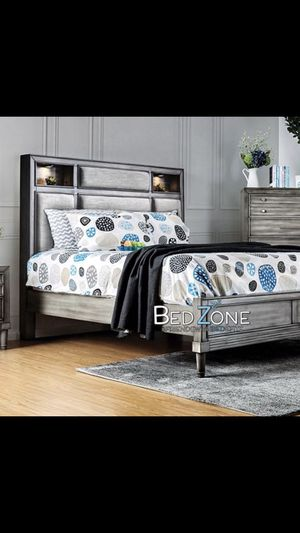 Brand New Wood + Fabric Bed Frame With Lighted Shelves - Queen, Eastern King, California King for Sale in Tracy, CA