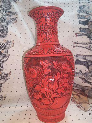 Cinnabar Vase Mid Century Carved Asian Cinnabar Vase Chinese Lacquer Vase Brass Vase Flower Vase Chinese Cinnabar Vase Red Vase for Sale in Richmond, CA