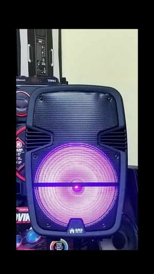 "1600 watts. 15"". BRAND NEW Rechargeable bluetooth Speaker. USB and Aux connection. Wired microphone included. Stand included. for Sale in Miami, FL"