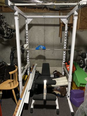 Squat rack/ Bench/Weight Tree/ Olympic plates and bars - Body Solid for Sale in Alpharetta, GA