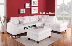 New white bonded leather sofa sectional couch (ottoman not included) for Sale in Pomona, CA