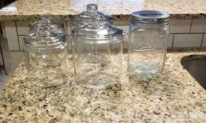5 large glass kitchen storage jars for Sale in Chamblee, GA