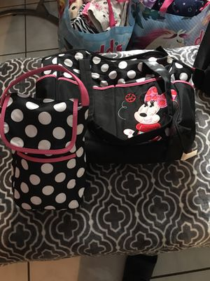 Baby girl dipper bag $10 dollars Minnie Mouse one and hello kitty for $15 for Sale in Pompano Beach, FL