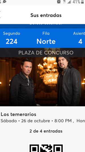 2 Boletos para Los Temerarios Oct 26,2019 for Sale in Santa Ana, CA