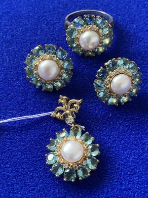 Aqua Topaz & Pearl Earrings Pendant Ring Size 9 Antique Vintage Style Jewelry Set for Sale in Nashville, TN