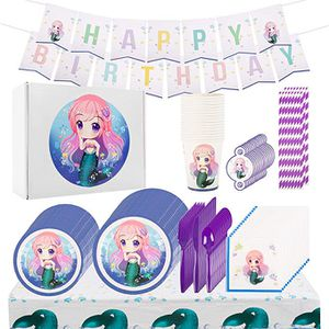 Mermaid Girls Party Supplies 146 Piece Birthday Favors Set | Mermaids Birthday Decorations and Tableware for Sale in Hacienda Heights, CA