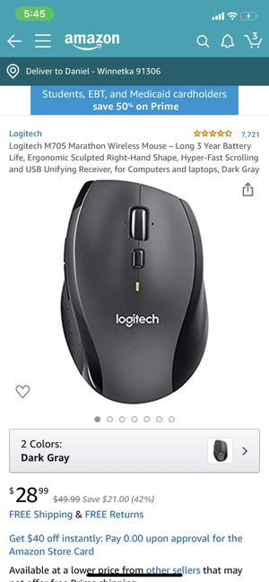 Logitech M705 Marathon Wireless Mouse for Sale in Los Angeles, CA