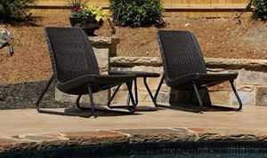 SHIPPING ONLY 3 Piece Patio Furniture Lounge Set w/ Chairs and Coffee Table Brown for Sale in Las Vegas, NV