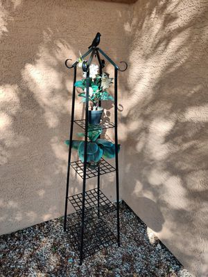 Plant hanger (metal frame) with 2 fake plants and squirrel for Sale in Phoenix, AZ