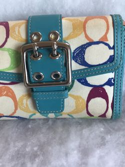 Coach Blue Signature Larger Bifold Wallet for Sale in Homestead,  PA