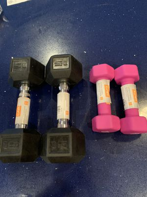 2..15pd and 2 5pd dumbbells. for Sale in Haverhill, MA