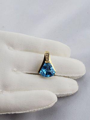 Solid 14k gold topaz diamond pendant charm for Sale in Arvada, CO