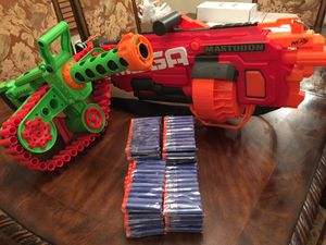 Nerf N Stike Mega Mastrodon Blaster AND The Enforcer Adventure Force w/ 280 bullets for the Enforcer. for Sale in Lathrop, MO