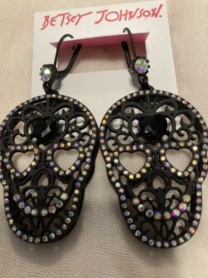 Betsey Johnson Sugar Skull 💀 Earrings With Zirconia Detailing for Sale in Chicago, IL