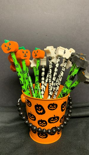 Halloween Pencils with Pumpkins, Bats & Ghosts Erasers in Pumpkin Bucket for Sale in Lenexa, KS