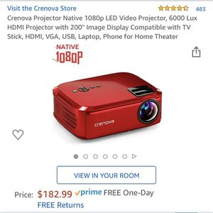 """Crenova Projector Native 1080p LED Video Projector, 6000 Lux HDMI Projector with 200"""" Image Display Compatible with TV Stick, HDMI, VGA, USB, Laptop, for Sale in El Monte, CA"""