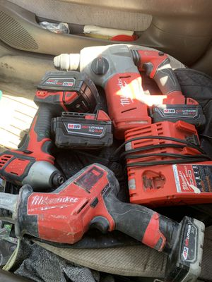 Milwaukee set hammer drill impact drill cordless hacksaw charger plus one extra battery for Sale in Providence, RI