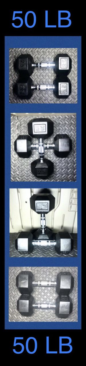 (2) 25LB CAP Rubber Hex Dumbbell pair ( 50lb total ) for Sale in Moreno Valley, CA