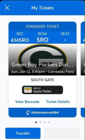 Green Bay Packers vs. Seattle Seahawks (All Sections) (With Receipt) for Sale in Green Bay, WI
