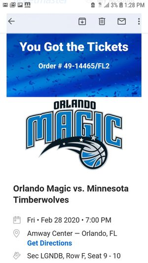 2 Magic tickets for legend suite for Sale in Orlando, FL
