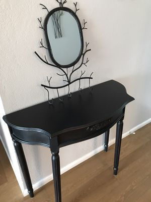 Rustic gothic mirror/ table vanity - multi- purpose $125 35 inches wide/15 inches deep/ 30 inches high for Sale in Fresno, CA