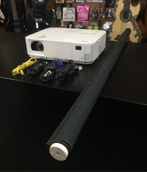 "NEC M283X 2800 Lumen DLP HDMI Projector W/ 47"" Projector Screen & Cables for Sale in La Verne, CA"
