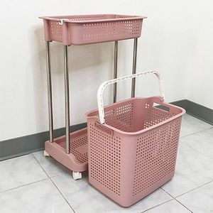 """New in box $20 Laundry 2-Tier Storage Cart w/ Bag Basket Rolling Wheels, 18x12x29"""" for Sale in South El Monte, CA"""