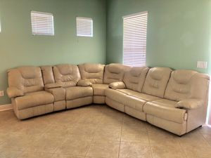 Leather Sectional with recliner and pullout couch for Sale in Tampa, FL