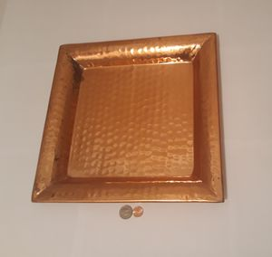 """Vintage Copper Metal Tray, Platter, Home Decor, Shelf Display, Heavy Duty, 13 1/2"""" x 13 1/2"""", Weighs 3 Pounds, Some Patina on it for Sale in Lakeside, CA"""