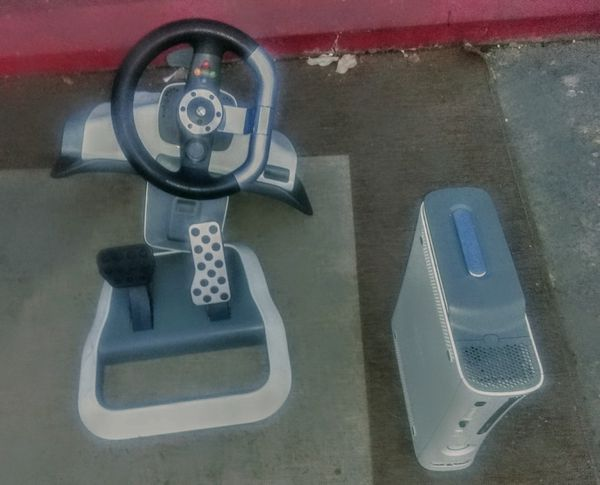XBOX WITH STEERING WHEEL COLUMN AND GAS PEDAL