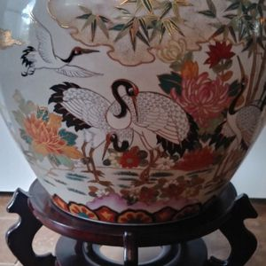 Antique Large Oriental Hand Painted Pot Cranes Goldfish for Sale in Pearland, TX