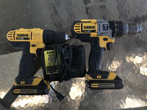 Dewalt 20 volt hammer drill, variable speed drill, 2 battery and 2 charger for Sale in Gulfport, FL