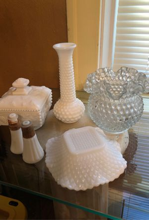 6pc Lot of Assorted Collectible Milk Glass & Hobnail for Sale in Hazelwood, MO