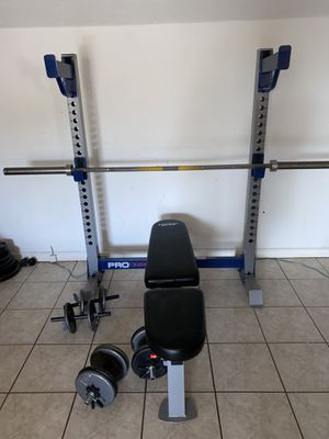 WEIGHT SET! BENCH / SQUAT RACK WITH FREE WEIGHTS for Sale in Phoenix, AZ