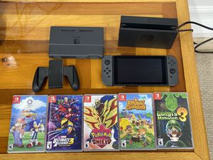 Nintendo Switch with 5 games, case, Joy controller and 64 gig memory card for Sale in Portsmouth, VA