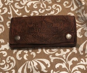Vintage Harley Davidson brown leather long style wallet no chain for Sale in Dry Prong, LA