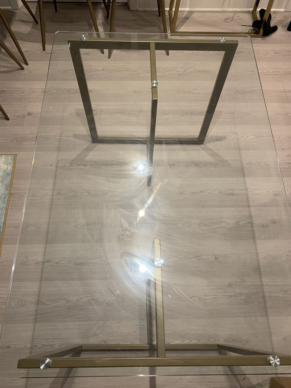 Glass/ Gold Dining Table and Light Beige Chairs (Set, Seats 4)