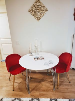Large Round Dining Table white with 2 Velvet chairs for Sale in Tucson, AZ