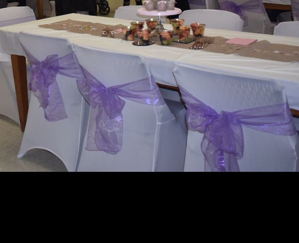 Spandex Chair Cover with Purple Sash