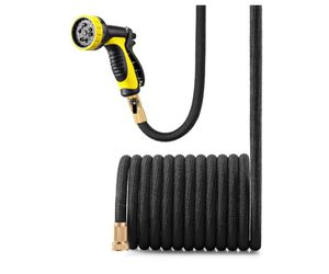 50FT Black Lightweight Expandable Solid Brass Valve Connector Garden Hose with 10 Pattern Spray Nozzle for Sale in Rancho Cucamonga, CA