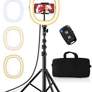 "10.2"" Selfie Ring Light with Tripod Stand and Phone Holder, Portable Foldable Led Ringlight, 3 Color Modes, Bluetooth Control, 50"" Height, Carrying Ba for Sale in La Verne, CA"