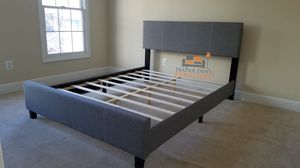 Brand New Queen Size Grey Upholstered Platform Bed Frame for Sale in Silver Spring, MD