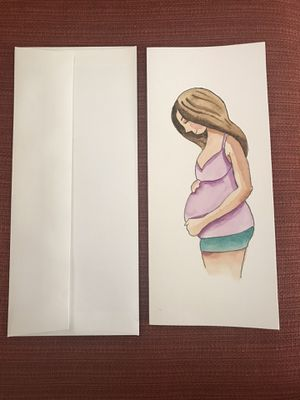 9.5x4 in baby shower hand painted watercolor card for Sale in Los Angeles, CA