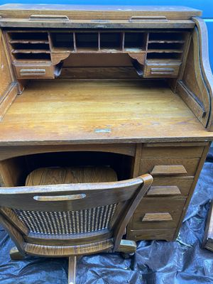 Antique Eagle lock Student Roll Top Desk and including chair Solid Wood for Sale in Mountain View, CA